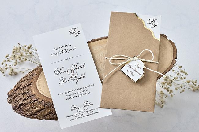 Thiệp cưới hình chữ nhật màu trắng