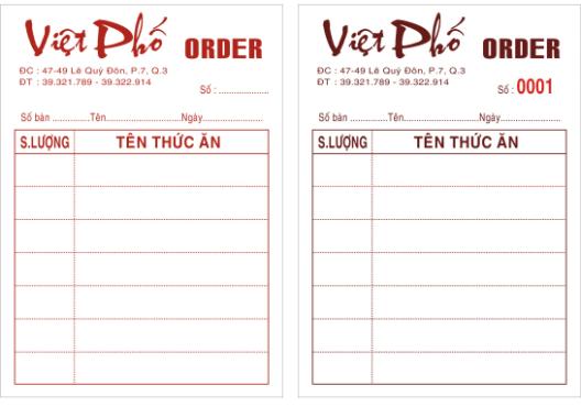 Mẫu order nhà hàng