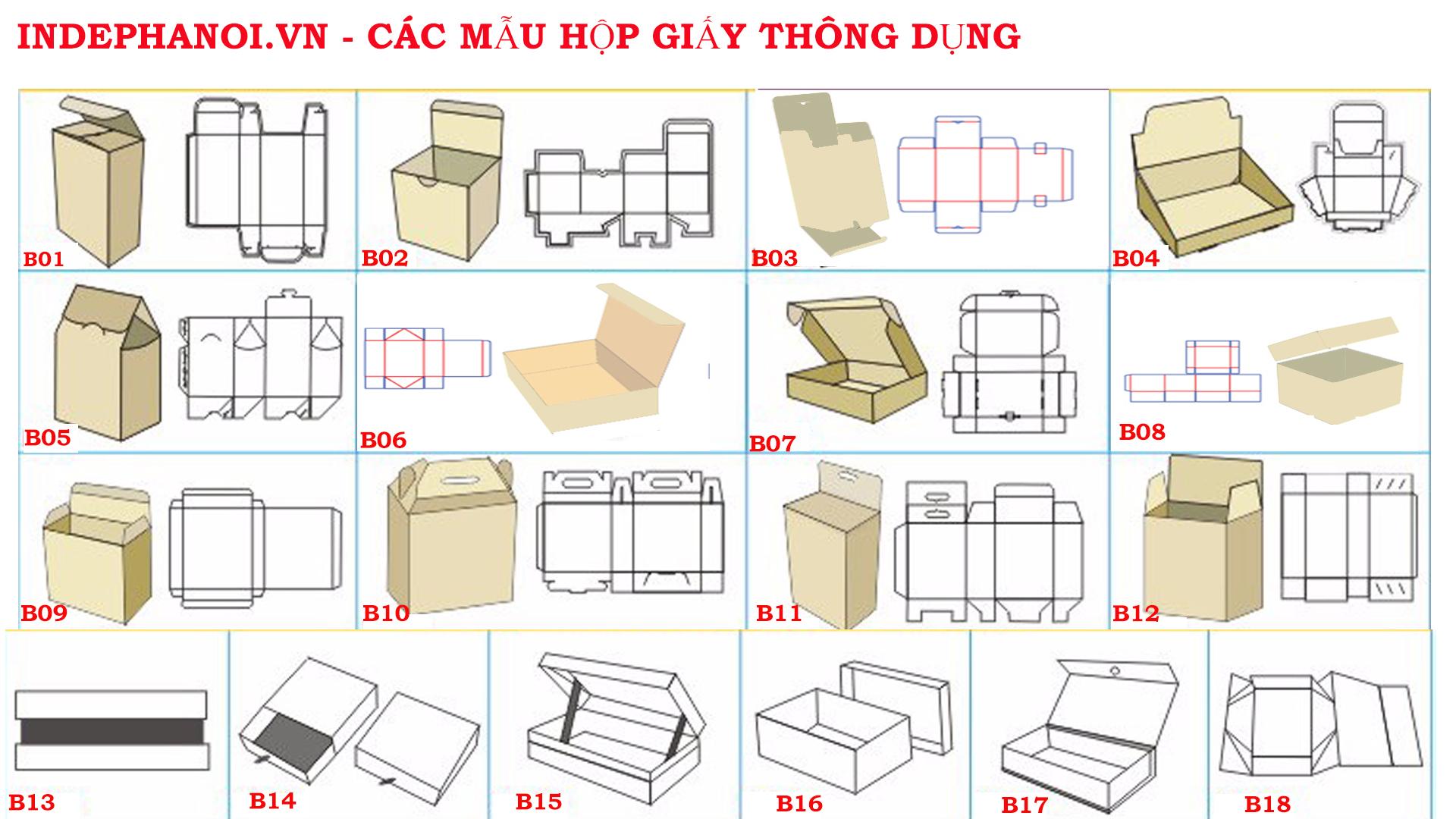 Mẫu in hộp giấy thông dụng