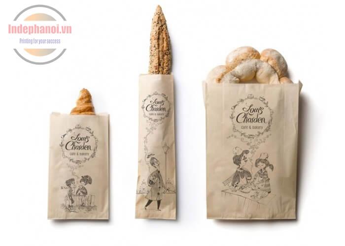 in túi giấy kraft đựng bánh mì