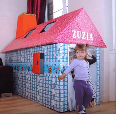 Làm nhà từ bìa carton cho bé