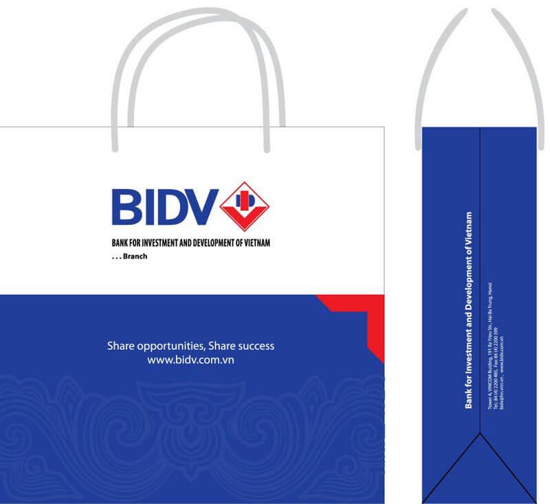 Thiết kế túi giấy đựng quà tặng cho ngân hàng BIDV