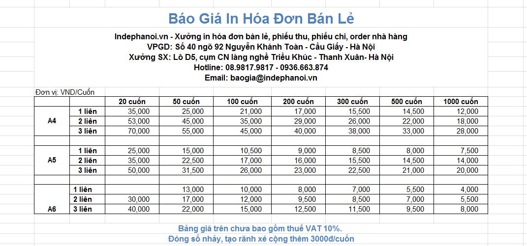 Bảng báo giá in hóa đơn bán lẻ