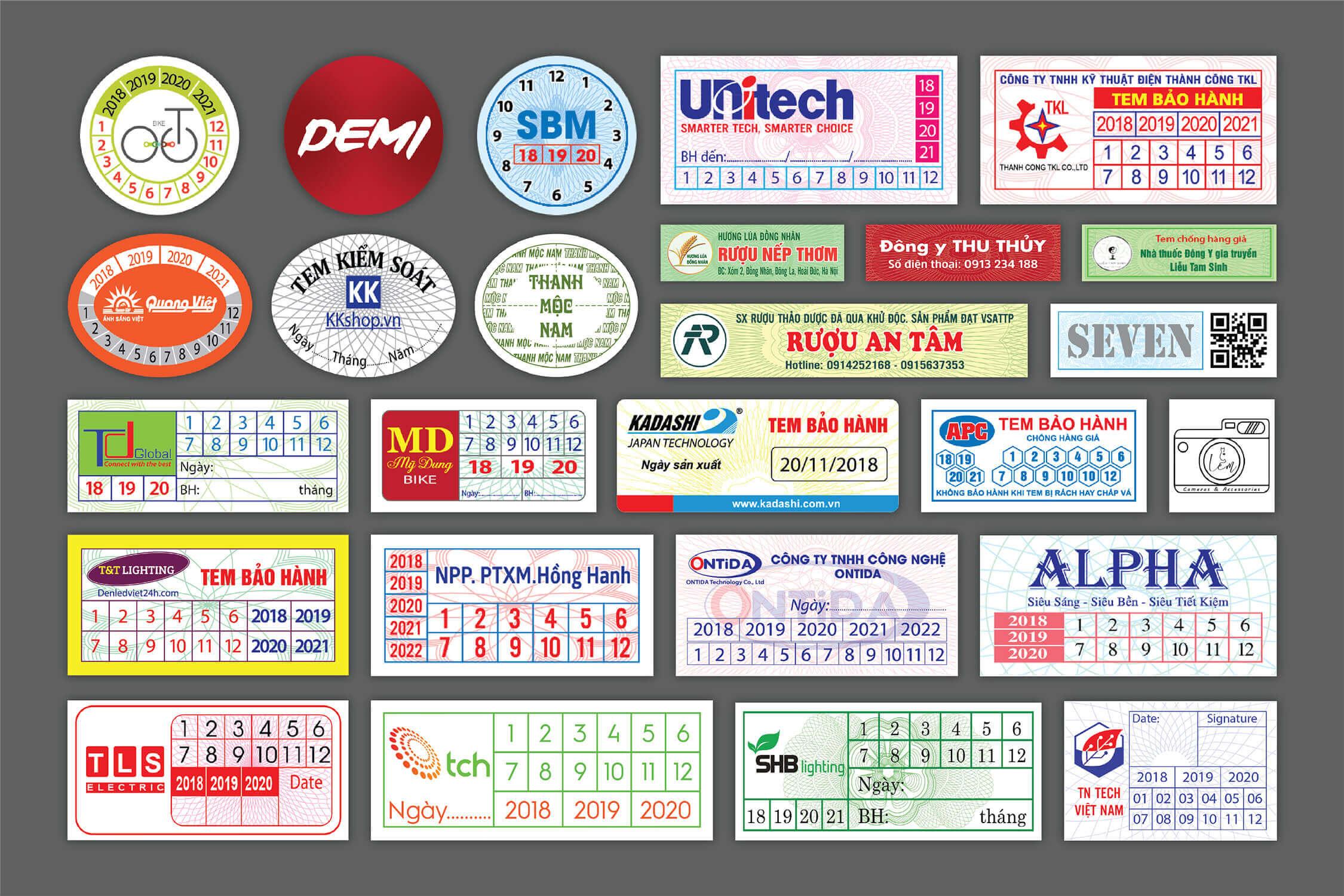 In tem bảo hành giá rẻ tại Cầu Giấy