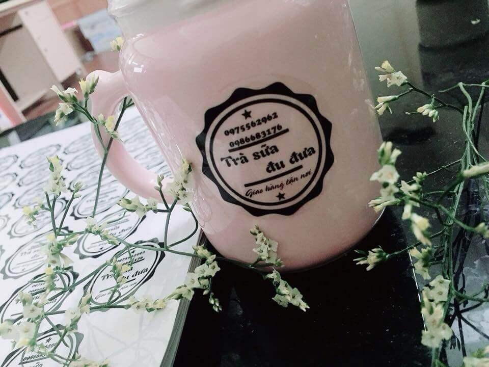 In tem trong dán cốc trà sữa