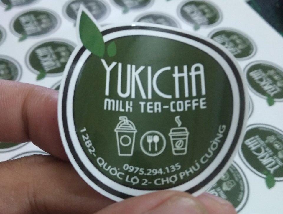 Tem trà sữa đẹp bằng decal giấy