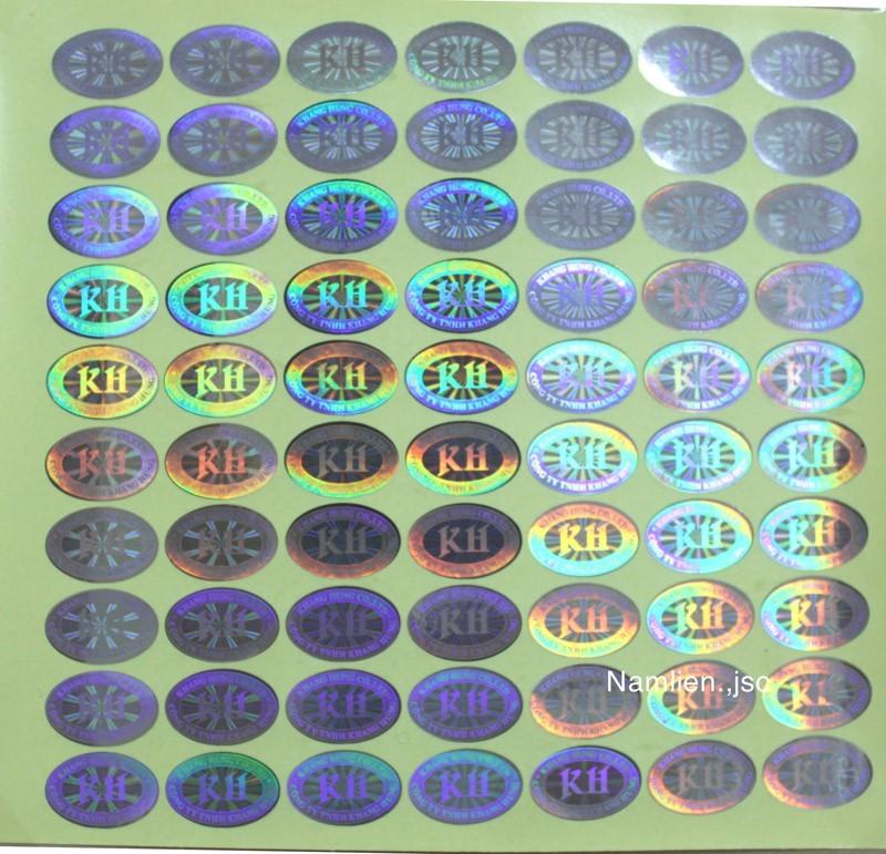 In tem 7 màu hologram làm tem bảo hành