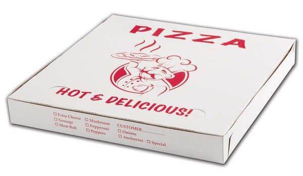 Hộp pizza bằng carton màu trắng