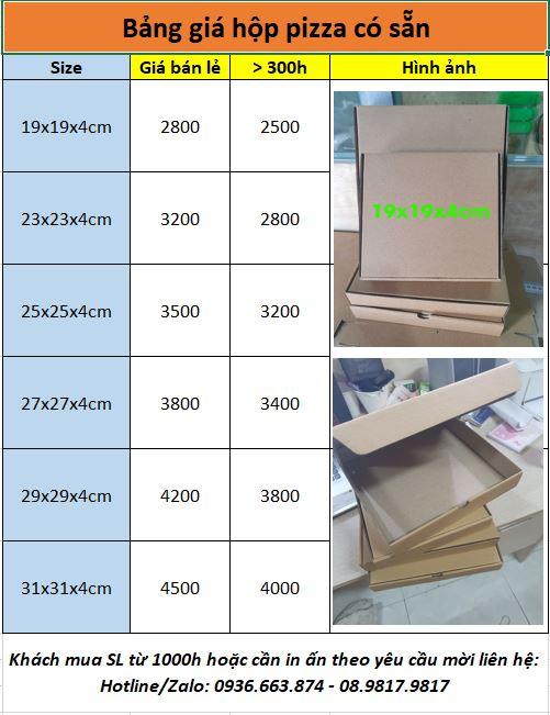 Bảng giá hộp đựng bánh pizza có sẵn