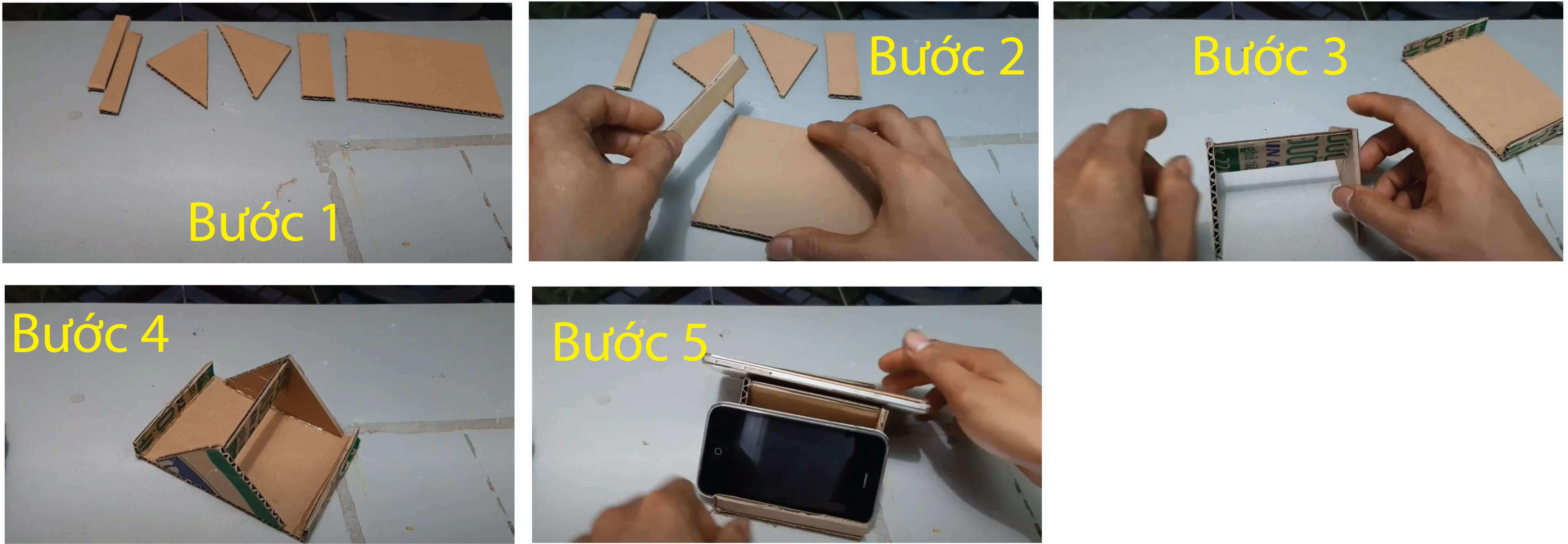 Giá đỡ điện thoại đơn giản từ bìa carton