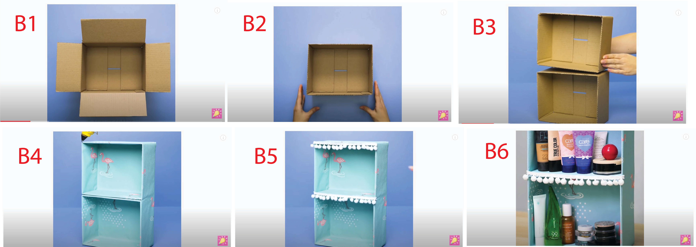 Kệ đồ 2 tầng sáng tạo từ thùng carton